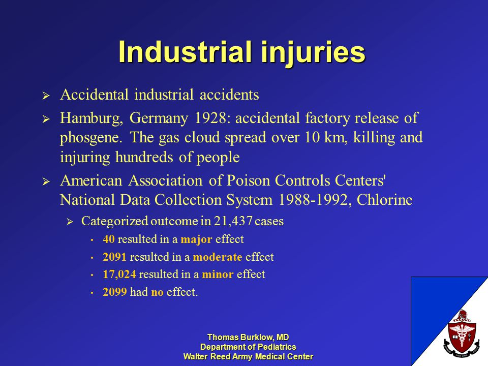 Thomas Burklow, MD Department of Pediatrics Walter Reed Army Medical Center Industrial injuries  Accidental industrial accidents  Hamburg, Germany 1