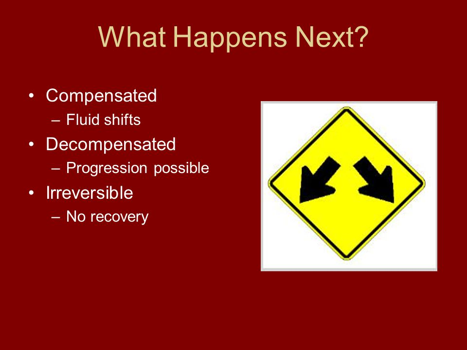 What Happens Next? Compensated –Fluid shifts Decompensated –Progression possible Irreversible –No recovery