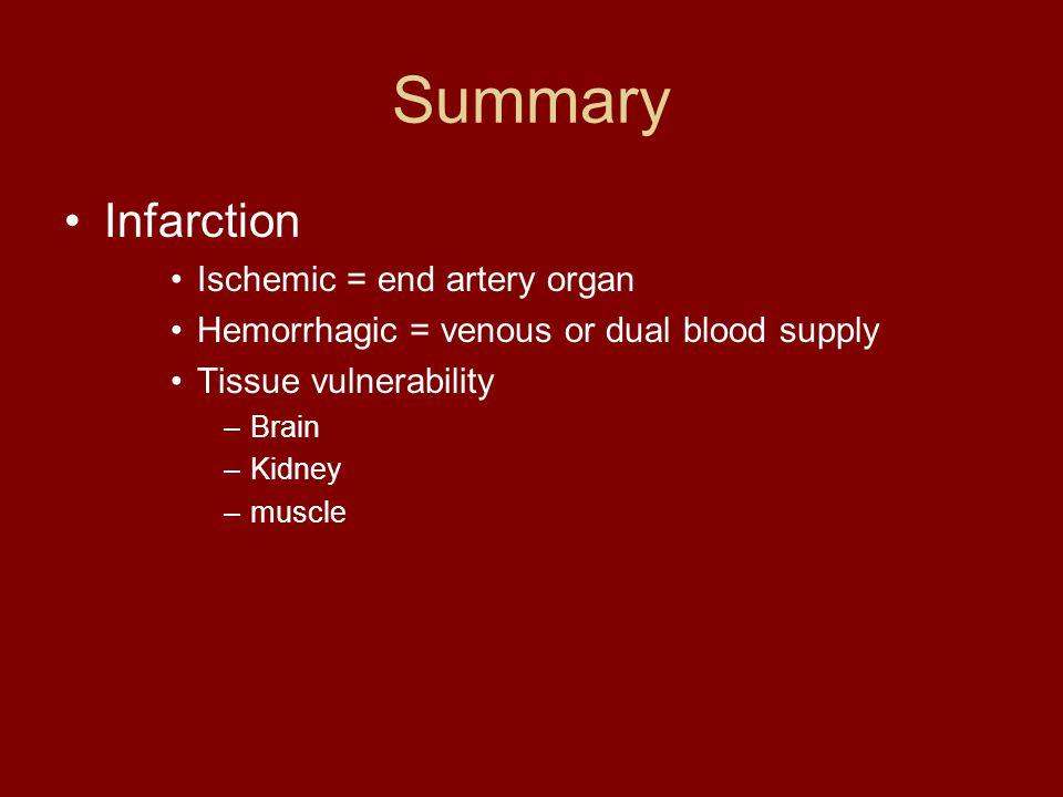 Summary Infarction Ischemic = end artery organ Hemorrhagic = venous or dual blood supply Tissue vulnerability –Brain –Kidney –muscle