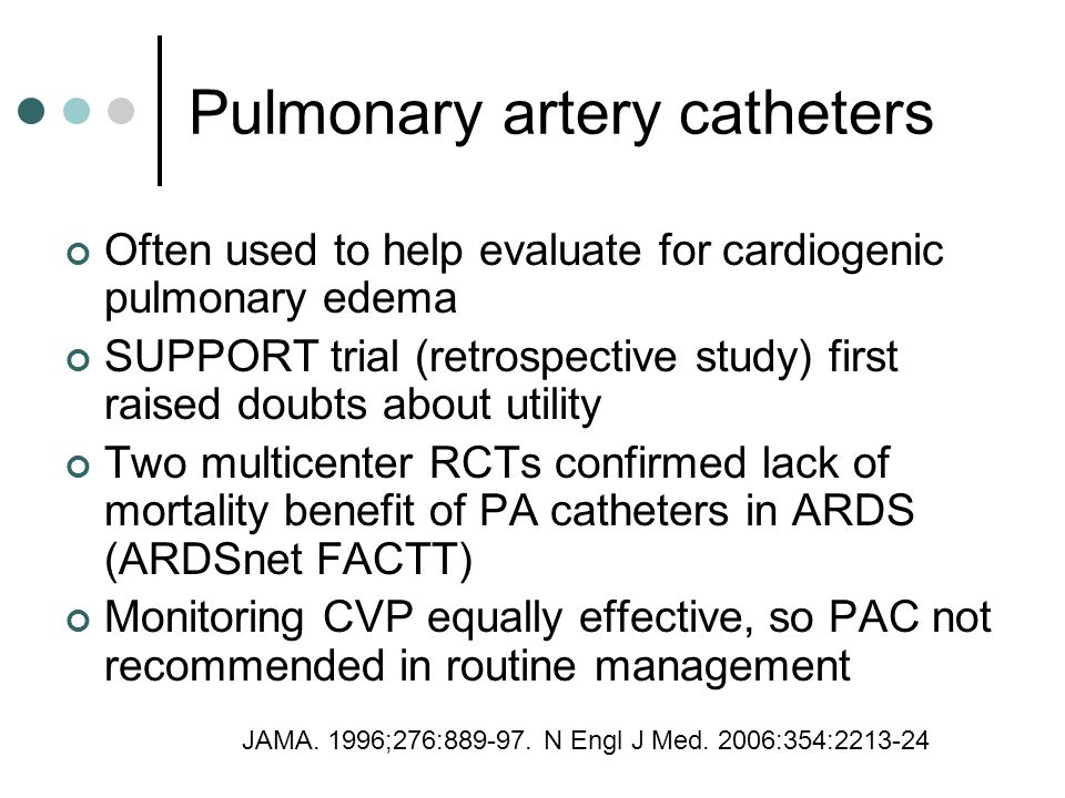 Pulmonary artery catheters Often used to help evaluate for cardiogenic pulmonary edema SUPPORT trial (retrospective study) first raised doubts about utility Two multicenter RCTs confirmed lack of mortality benefit of PA catheters in ARDS (ARDSnet FACTT) Monitoring CVP equally effective, so PAC not recommended in routine management JAMA.