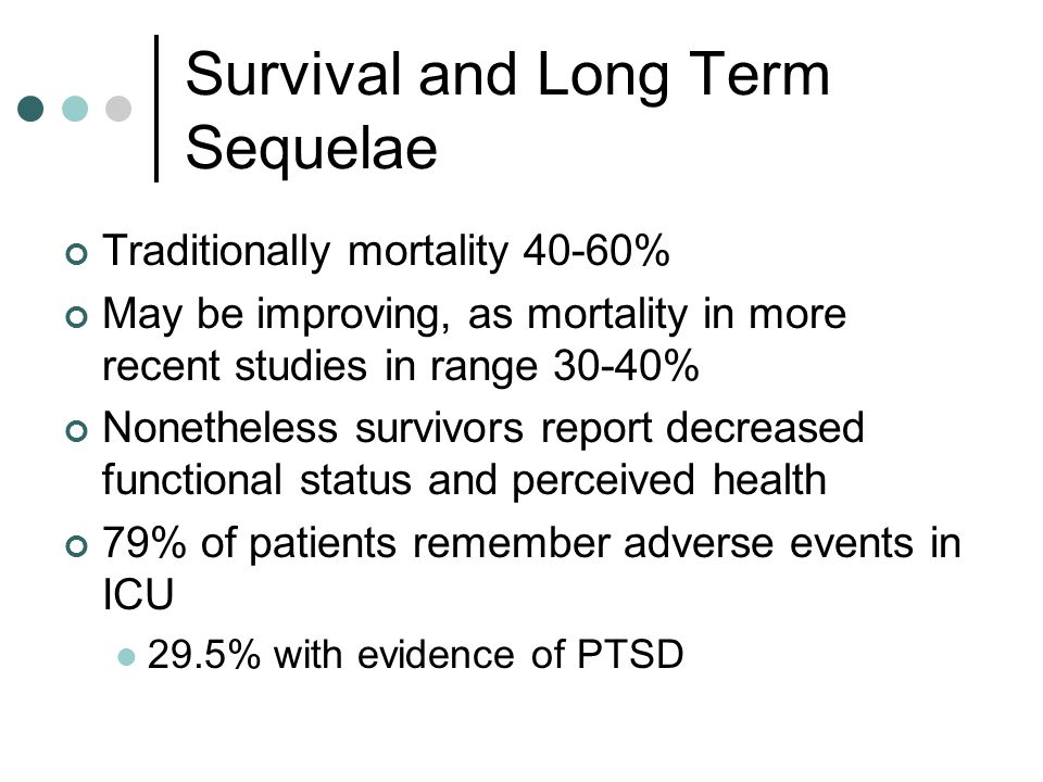 Survival and Long Term Sequelae Traditionally mortality 40-60% May be improving, as mortality in more recent studies in range 30-40% Nonetheless survivors report decreased functional status and perceived health 79% of patients remember adverse events in ICU 29.5% with evidence of PTSD