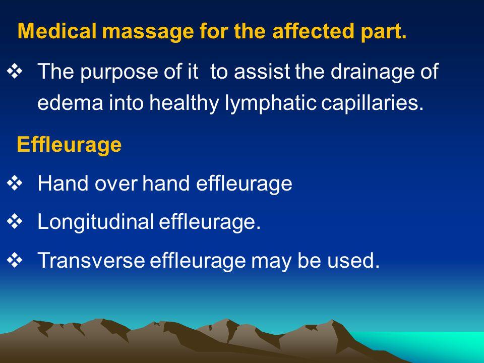 Effleurage  Hand over hand effleurage  Longitudinal effleurage.