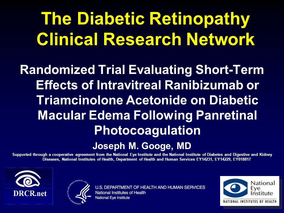 22 Subgroup Analyses  No obvious clinically important difference in results at 14-week primary outcome visit for any of the following subgroups: Prior treatment for DME Baseline visual acuity Baseline OCT-measured central subfield thickening Baseline level of diabetic retinopathy on photos Baseline HbA1c level Description of edema by ophthalmologist as predominantly focal or predominantly diffuse PRP in a single sitting vs.