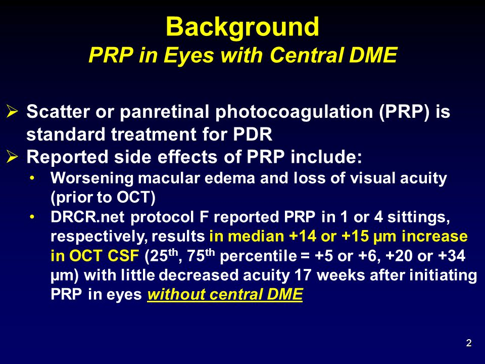 13 Panretinal Photocoagulation Treatment Sham+ Focal/Grid/PRP Laser Ranibizumab+ Focal/Grid/PRP Laser Triamcinolone+ Focal/Grid/PRP Laser Initial PRP on the same day as focal/grid laser planned/performed Yes/Yes 50%53%50% Yes/No 7%4%8% No/Yes 5%8%6% No/No 37%33%34% PRP and/or focal/laser not done 1%3%