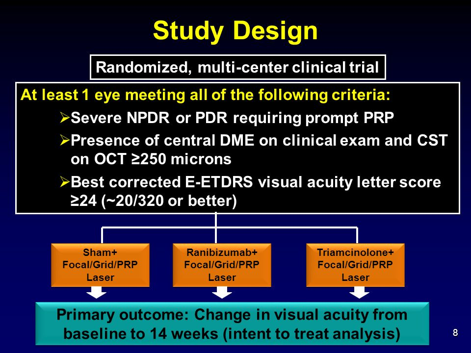 Conclusions – Other Considerations  Effects of ranibizumab or triamcinolone on diabetic retinopathy appear consistent with similar findings in eyes with the following: Central DME not requiring prompt PRP treated with triamcinolone alone (Protocol B) or triamcinolone + prompt focal/grid laser (Protocol I) Central DME not requiring prompt PRP treated with intravitreal ranibizumab with deferred (>24 weeks) or prompt focal/grid laser (Protocol I) 49