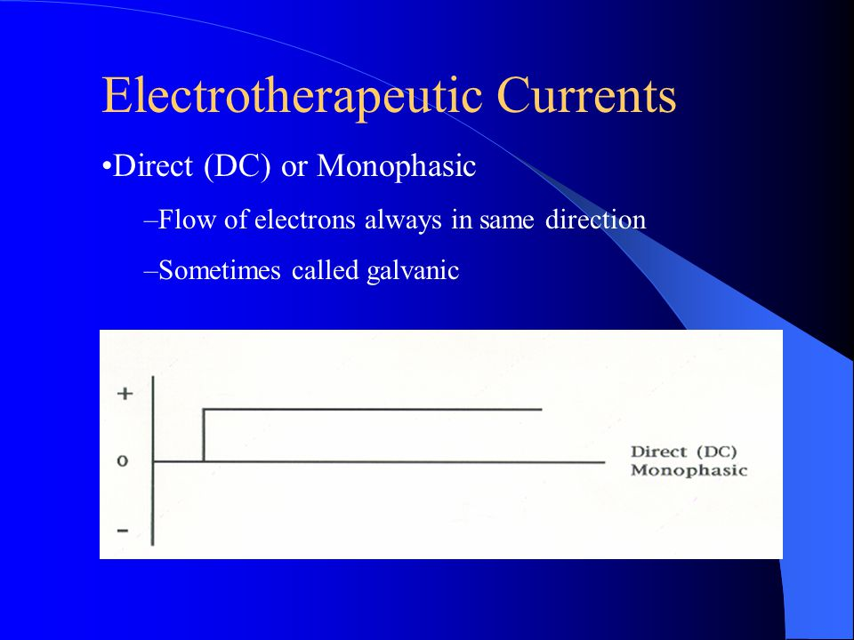 Electrotherapeutic Currents Direct (DC) or Monophasic –Flow of electrons always in same direction –Sometimes called galvanic