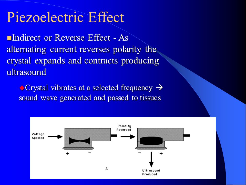n Indirect or Reverse Effect - As alternating current reverses polarity the crystal expands and contracts producing ultrasound u Crystal vibrates at a