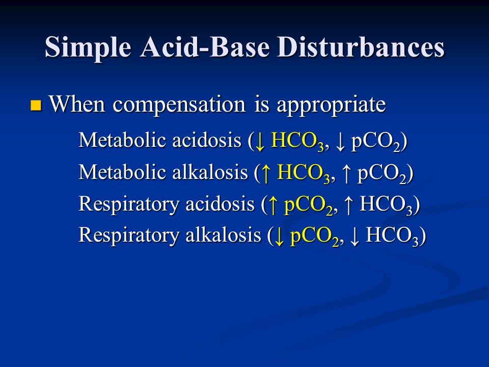 Simple Acid-Base Disturbances When compensation is appropriate When compensation is appropriate Metabolic acidosis (↓ HCO 3, ↓ pCO 2 ) Metabolic alkal