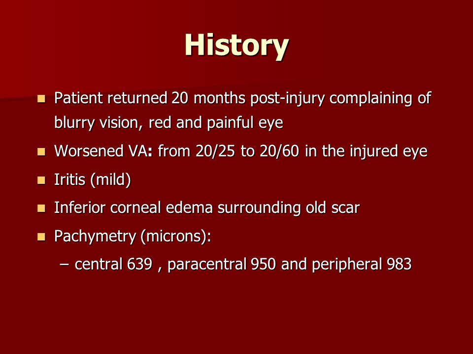 History Patient returned 20 months post-injury complaining of blurry vision, red and painful eye Patient returned 20 months post-injury complaining of
