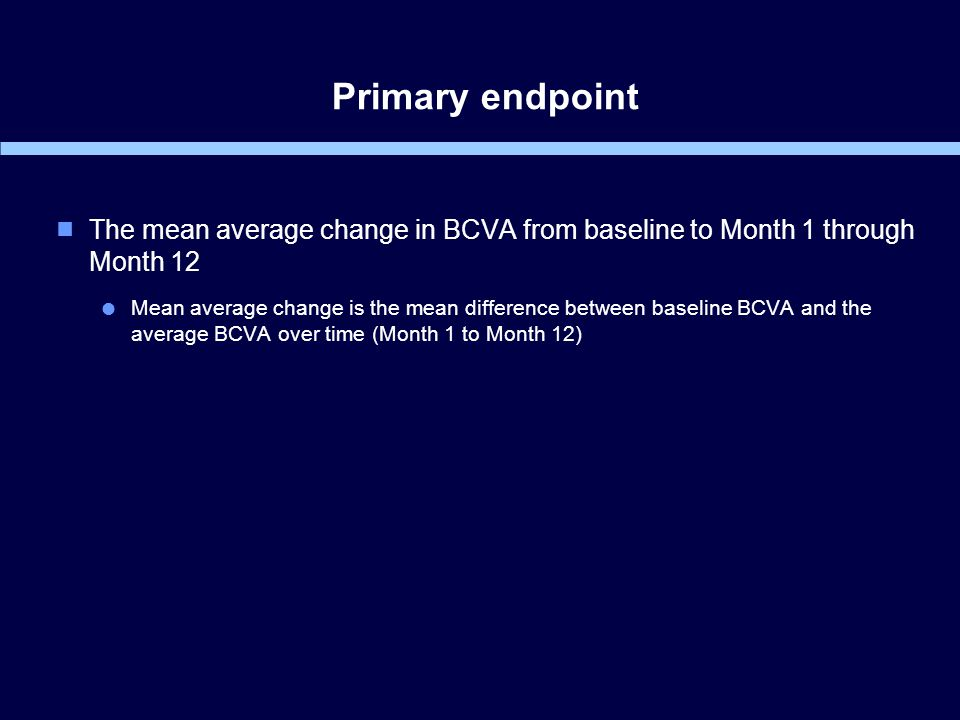 Primary endpoint  The mean average change in BCVA from baseline to Month 1 through Month 12  Mean average change is the mean difference between baseline BCVA and the average BCVA over time (Month 1 to Month 12)