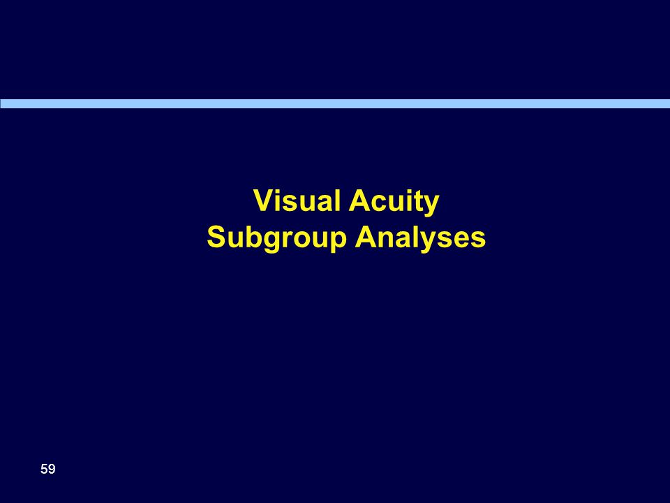 Visual Acuity Subgroup Analyses 59