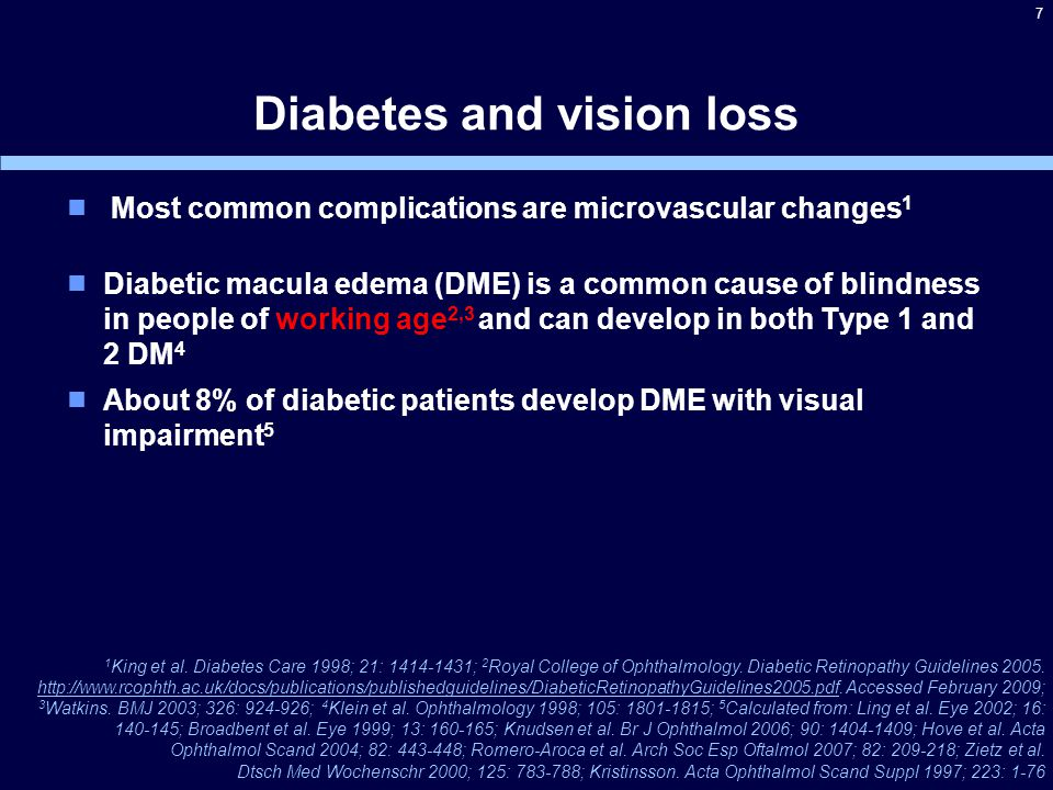 Key Inclusion Criteria Male / female patients >18 years of age Patients with type 1 or type 2 diabetes mellitus HbA 1 C ≤ 12.0% Patients with DME with center involvement in at least one eye (focal or diffuse) Eligibility criteria for the study eye at Visit 1: ►Central macular thickness must be ≥300 µm in the center subfield, as assessed by optical coherence tomography (OCT) and confirmed by the central reading center ►BCVA letter score between 73 and 39