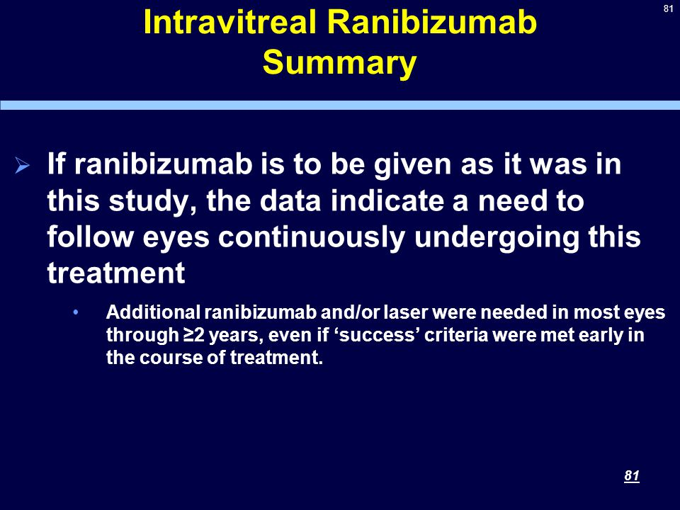 81 Intravitreal Ranibizumab Summary  If ranibizumab is to be given as it was in this study, the data indicate a need to follow eyes continuously undergoing this treatment Additional ranibizumab and/or laser were needed in most eyes through ≥2 years, even if 'success' criteria were met early in the course of treatment.