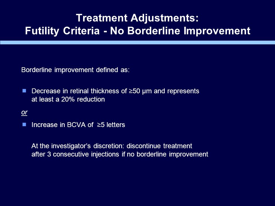 Treatment Adjustments: Futility Criteria - No Borderline Improvement Borderline improvement defined as:  Decrease in retinal thickness of ≥50 µm and represents at least a 20% reduction or  Increase in BCVA of ≥5 letters At the investigator's discretion: discontinue treatment after 3 consecutive injections if no borderline improvement