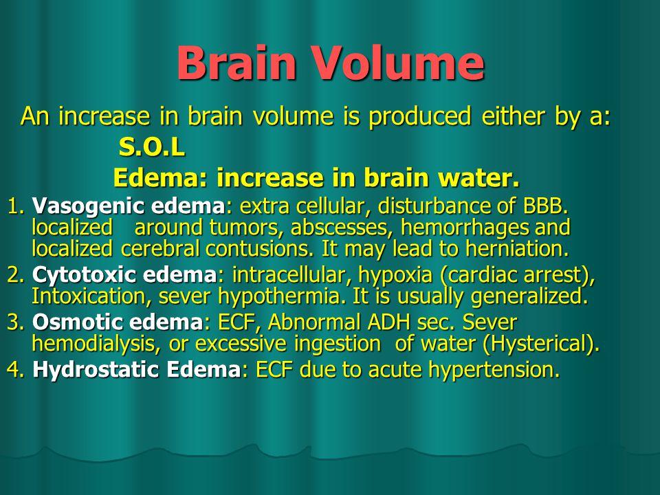 Brain Volume An increase in brain volume is produced either by a: An increase in brain volume is produced either by a: S.O.L S.O.L Edema: increase in