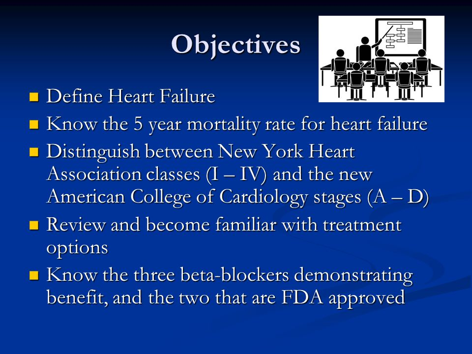 Objectives Define Heart Failure Define Heart Failure Know the 5 year mortality rate for heart failure Know the 5 year mortality rate for heart failure