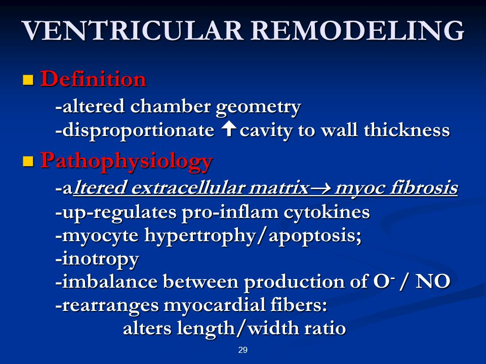 VENTRICULAR REMODELING Definition -altered chamber geometry -disproportionate  cavity to wall thickness Definition -altered chamber geometry -disprop