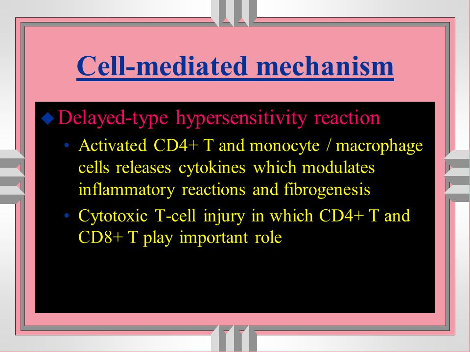 Cell-mediated mechanism u Delayed-type hypersensitivity reaction Activated CD4+ T and monocyte / macrophage cells releases cytokines which modulates i