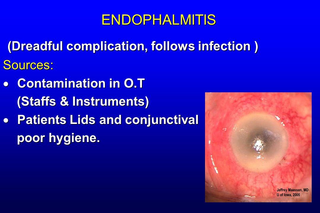 ENDOPHALMITIS (Dreadful complication, follows infection ) (Dreadful complication, follows infection )Sources:  Contamination in O.T (Staffs & Instrum