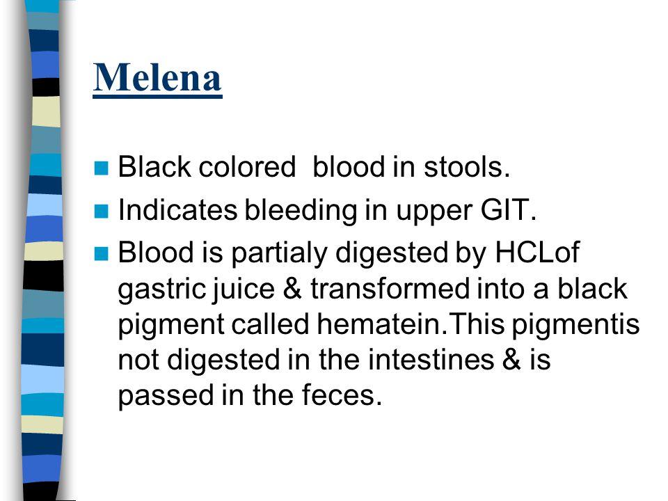 Hematochezia Bleeding through rectem. Sign of diseases in large intestine.