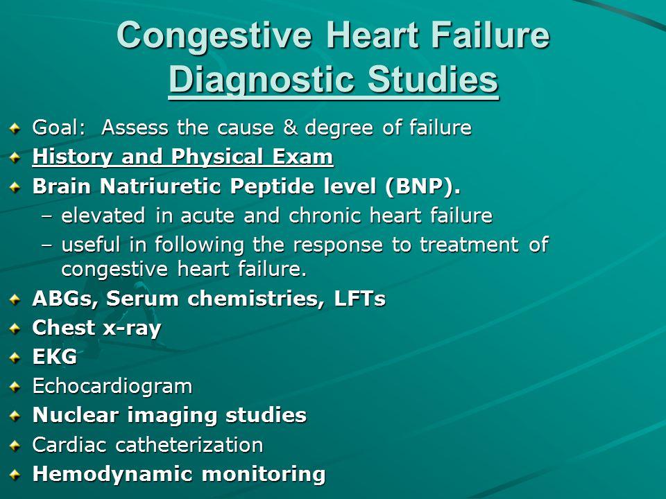 Congestive Heart Failure Diagnostic Studies Goal: Assess the cause & degree of failure History and Physical Exam Brain Natriuretic Peptide level (BNP)