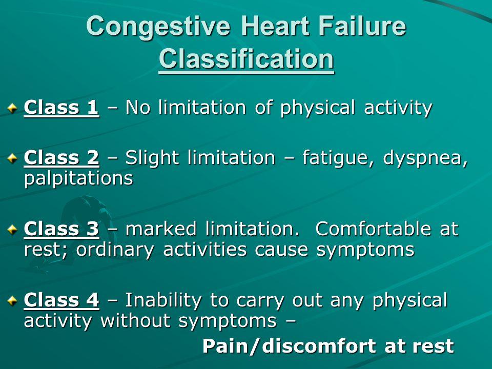 Congestive Heart Failure Classification Class 1 – No limitation of physical activity Class 2 – Slight limitation – fatigue, dyspnea, palpitations Clas