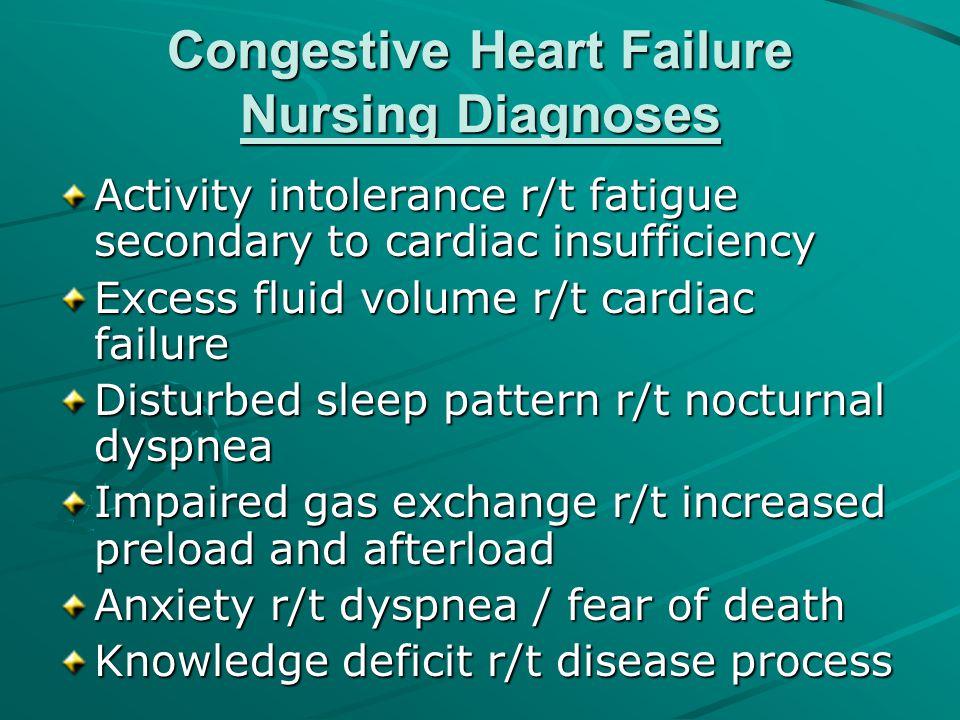 Congestive Heart Failure Nursing Diagnoses Activity intolerance r/t fatigue secondary to cardiac insufficiency Excess fluid volume r/t cardiac failure