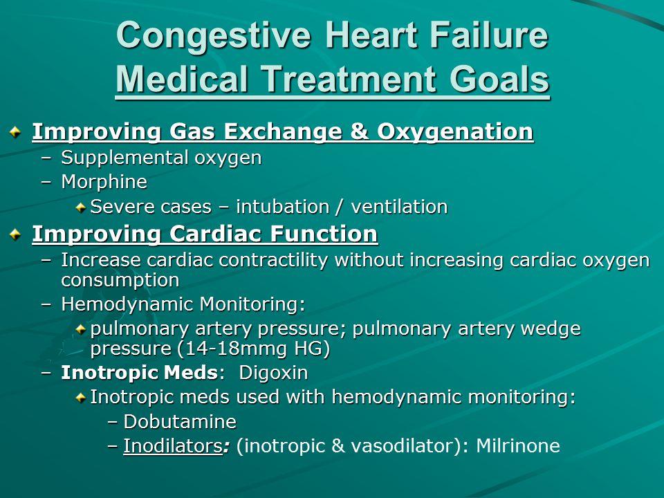 Congestive Heart Failure Medical Treatment Goals Improving Gas Exchange & Oxygenation –Supplemental oxygen –Morphine Severe cases – intubation / venti