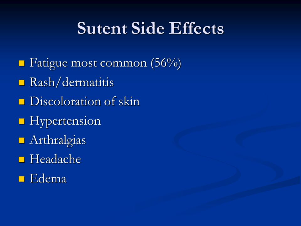 Sutent Side Effects Fatigue most common (56%) Fatigue most common (56%) Rash/dermatitis Rash/dermatitis Discoloration of skin Discoloration of skin Hypertension Hypertension Arthralgias Arthralgias Headache Headache Edema Edema