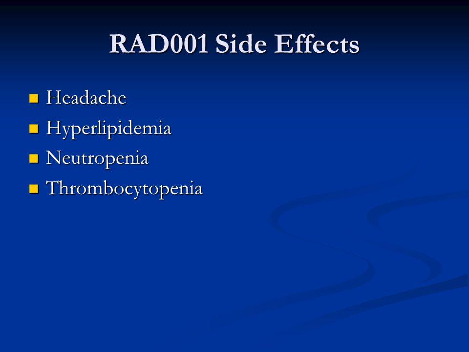 RAD001 Side Effects Headache Headache Hyperlipidemia Hyperlipidemia Neutropenia Neutropenia Thrombocytopenia Thrombocytopenia