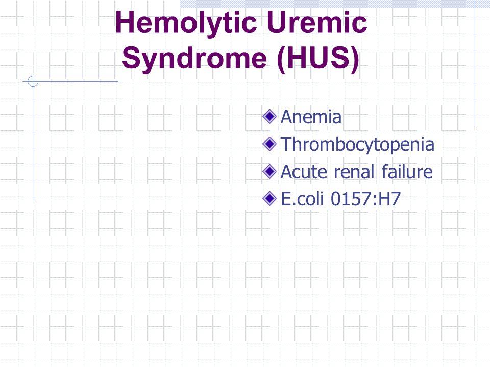 Hemolytic Uremic Syndrome (HUS) Anemia Thrombocytopenia Acute renal failure E.coli 0157:H7