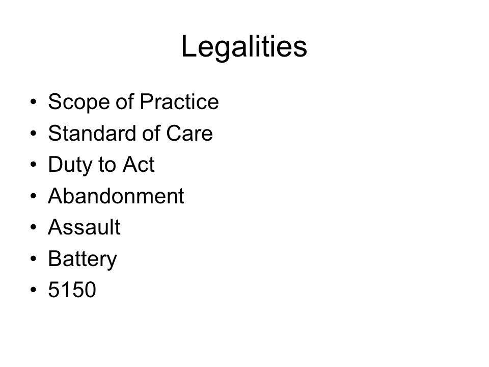 Legalities NegligenceDuty to Act Breach of Duty to Act Proximate Cause Compensatable Injury