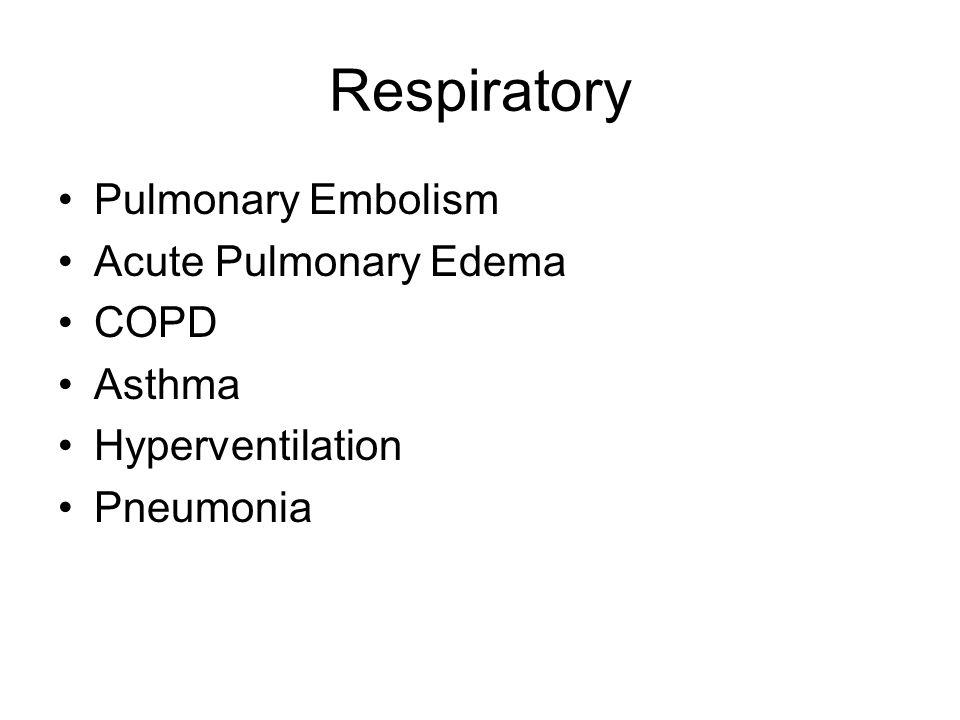 Respiratory Pulmonary Embolism Acute Pulmonary Edema COPD Asthma Hyperventilation Pneumonia