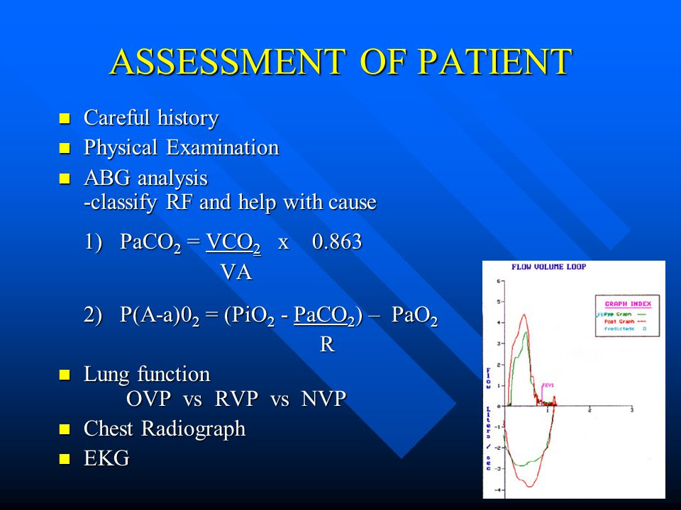 ASSESSMENT OF PATIENT Careful history Careful history Physical Examination Physical Examination ABG analysis -classify RF and help with cause ABG analysis -classify RF and help with cause 1) PaCO 2 = VCO 2 x 0.863 VA VA 2) P(A-a)0 2 = (PiO 2 - PaCO 2 ) – PaO 2 R Lung function OVP vs RVP vs NVP Lung function OVP vs RVP vs NVP Chest Radiograph Chest Radiograph EKG EKG
