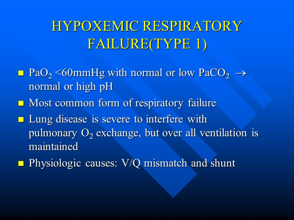 HYPOXEMIC RESPIRATORY FAILURE(TYPE 1) PaO 2 <60mmHg with normal or low PaCO 2  normal or high pH PaO 2 <60mmHg with normal or low PaCO 2  normal or high pH Most common form of respiratory failure Most common form of respiratory failure Lung disease is severe to interfere with pulmonary O 2 exchange, but over all ventilation is maintained Lung disease is severe to interfere with pulmonary O 2 exchange, but over all ventilation is maintained Physiologic causes: V/Q mismatch and shunt Physiologic causes: V/Q mismatch and shunt