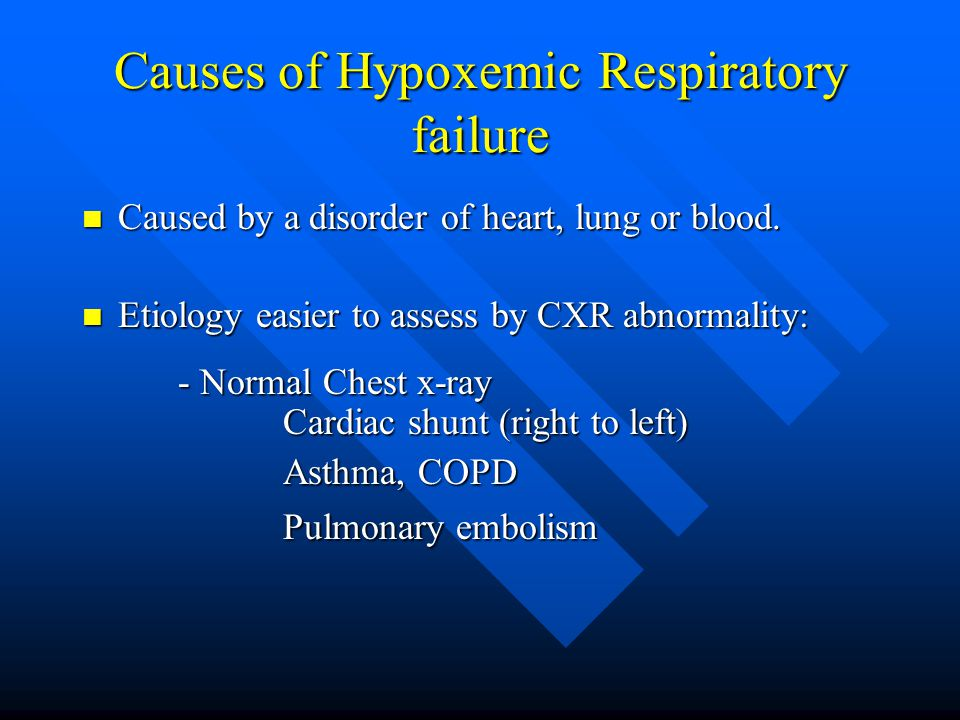 Causes of Hypoxemic Respiratory failure Caused by a disorder of heart, lung or blood.