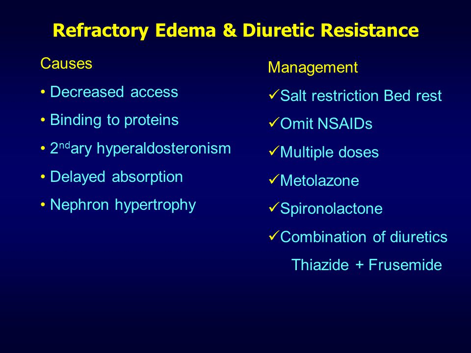 Amiloride & Triamterene - Actions Direct action on DT and CD Amiloride sensitive or renal epithelial Na channels are blocked Weak diuretic never used alone Indirectly inhibit K + secretion Also inhibit H + secretion Amiloride in aerosol form  cystic fibrosis ADRs, precautions similar to spironolactone but does not cause sexual dysfunction