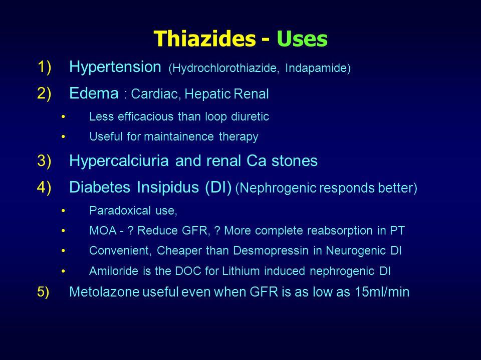 Thiazides Preparations Drug NameDose (oral)Duration (hr) Chlorothiazide (1957) 500-20006-12 Hydrochlorothiazide25-1008-12 Benzthiazide25-10012-18 Hydroflumethiazide25-10012 Chlorthalidone50-10048 Metolazone5-2018 Xipamide, Clopamide20-4012-24 Indapamide (No CAI) 2.5-524-36