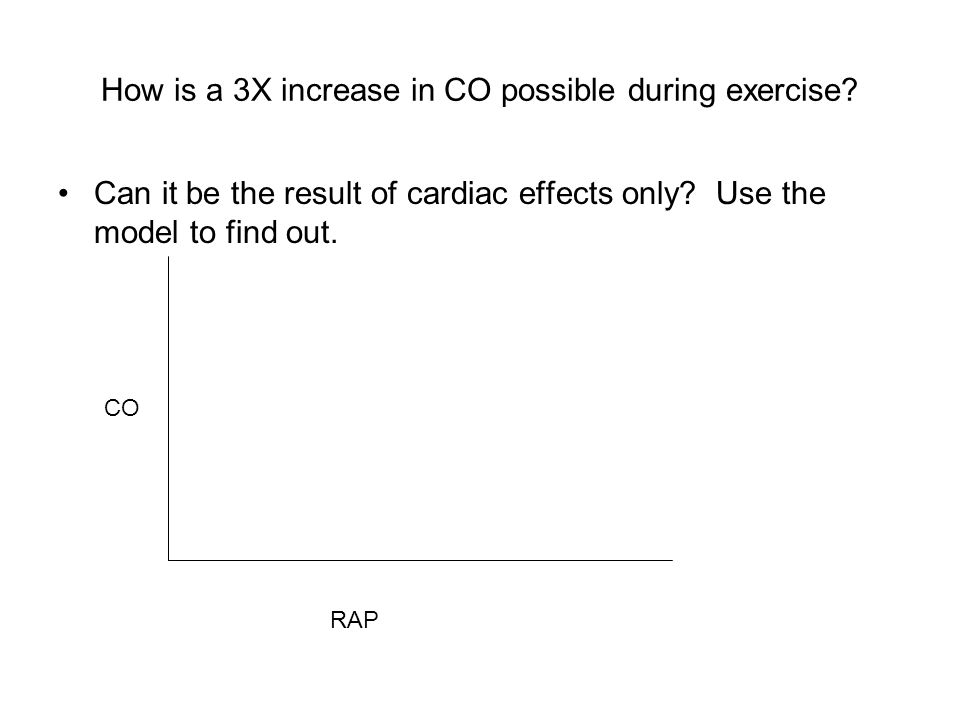 How is a 3X increase in CO possible during exercise? Can it be the result of cardiac effects only? Use the model to find out. CO RAP