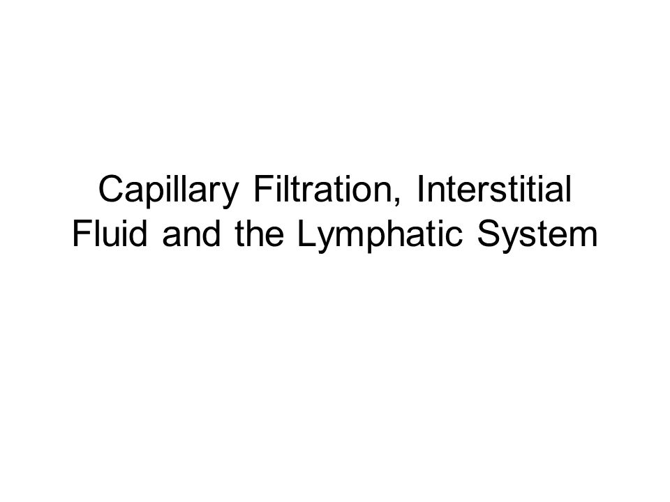 Capillary Filtration, Interstitial Fluid and the Lymphatic System