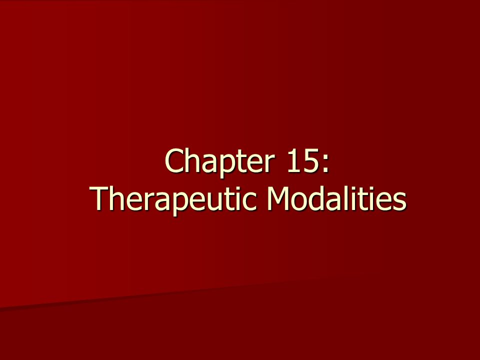 Therapeutic Modalities In any rehabilitation program, modalities should be used primarily as adjuncts to therapeutic exercise and certainly not at the exclusion of range-of-motion or strengthening exercise.