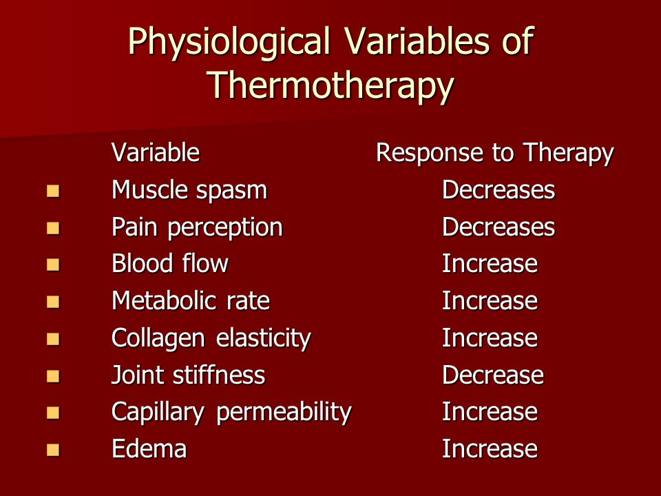 Physiological Variables of Thermotherapy VariableResponse to Therapy Muscle spasmDecreases Muscle spasmDecreases Pain perceptionDecreases Pain percept