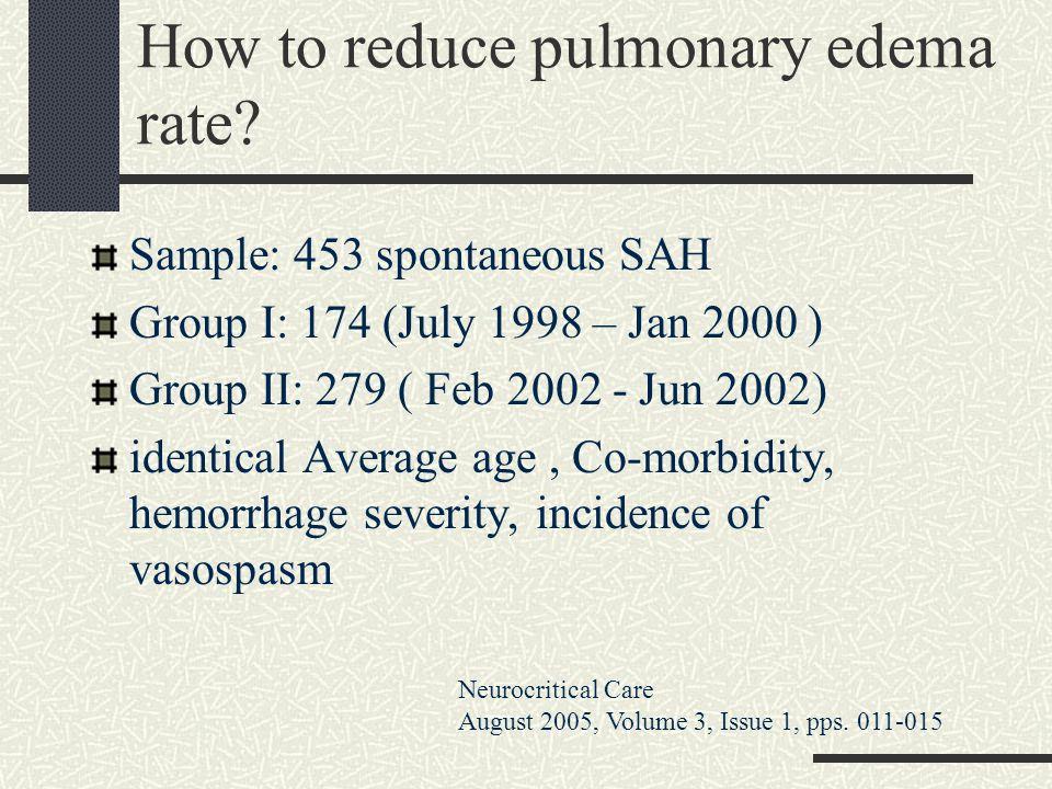 How to reduce pulmonary edema rate? Sample: 453 spontaneous SAH Group I: 174 (July 1998 – Jan 2000 ) Group II: 279 ( Feb 2002 - Jun 2002) identical Av