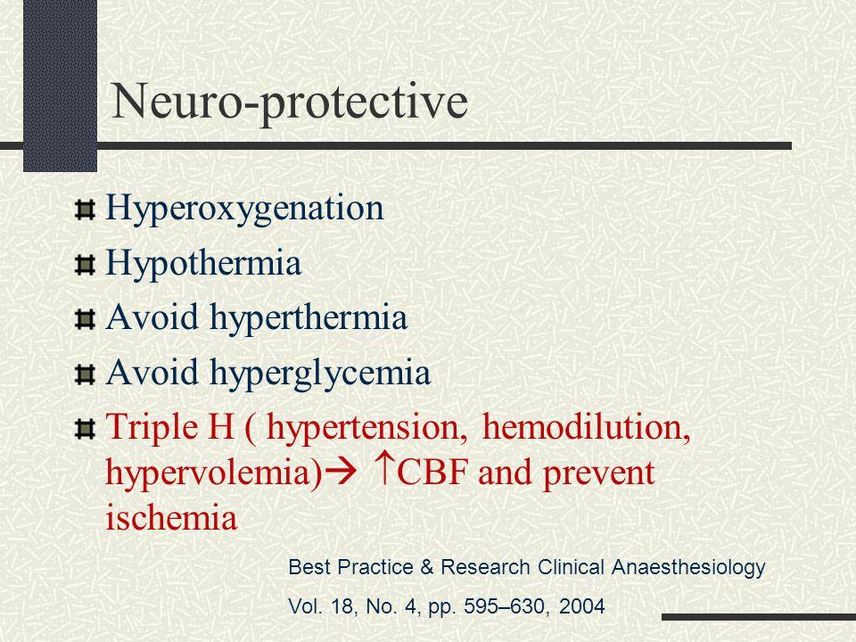 Neuro-protective Hyperoxygenation Hypothermia Avoid hyperthermia Avoid hyperglycemia Triple H ( hypertension, hemodilution, hypervolemia)   CBF and