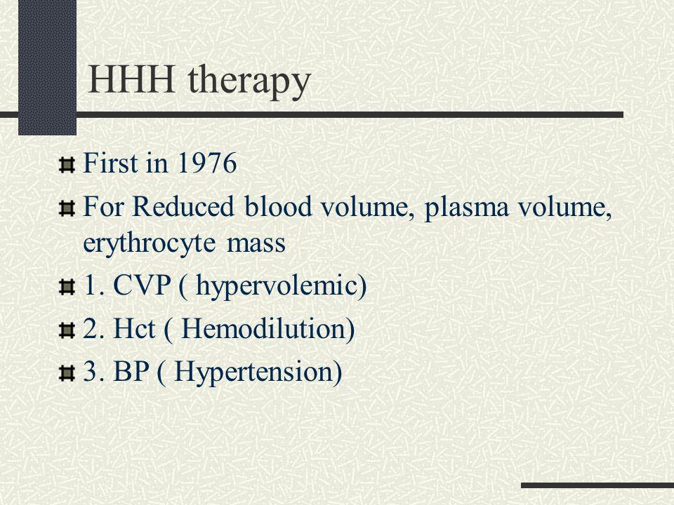 HHH therapy First in 1976 For Reduced blood volume, plasma volume, erythrocyte mass 1. CVP ( hypervolemic) 2. Hct ( Hemodilution) 3. BP ( Hypertension