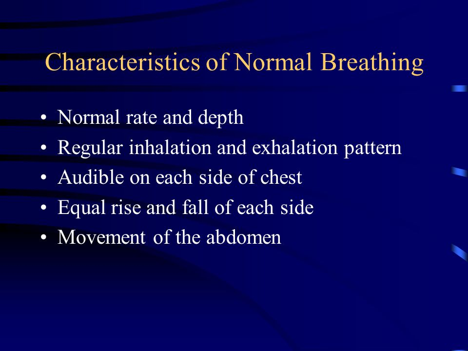 Characteristics of Normal Breathing Normal rate and depth Regular inhalation and exhalation pattern Audible on each side of chest Equal rise and fall of each side Movement of the abdomen