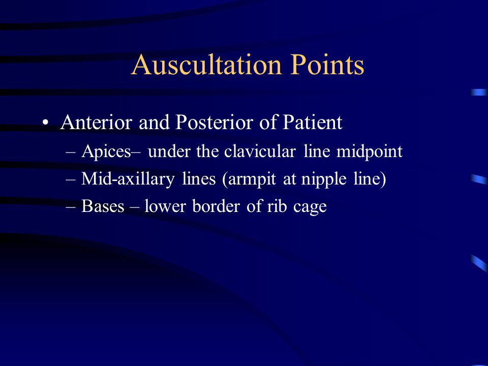 Auscultation Points Anterior and Posterior of Patient –Apices– under the clavicular line midpoint –Mid-axillary lines (armpit at nipple line) –Bases – lower border of rib cage