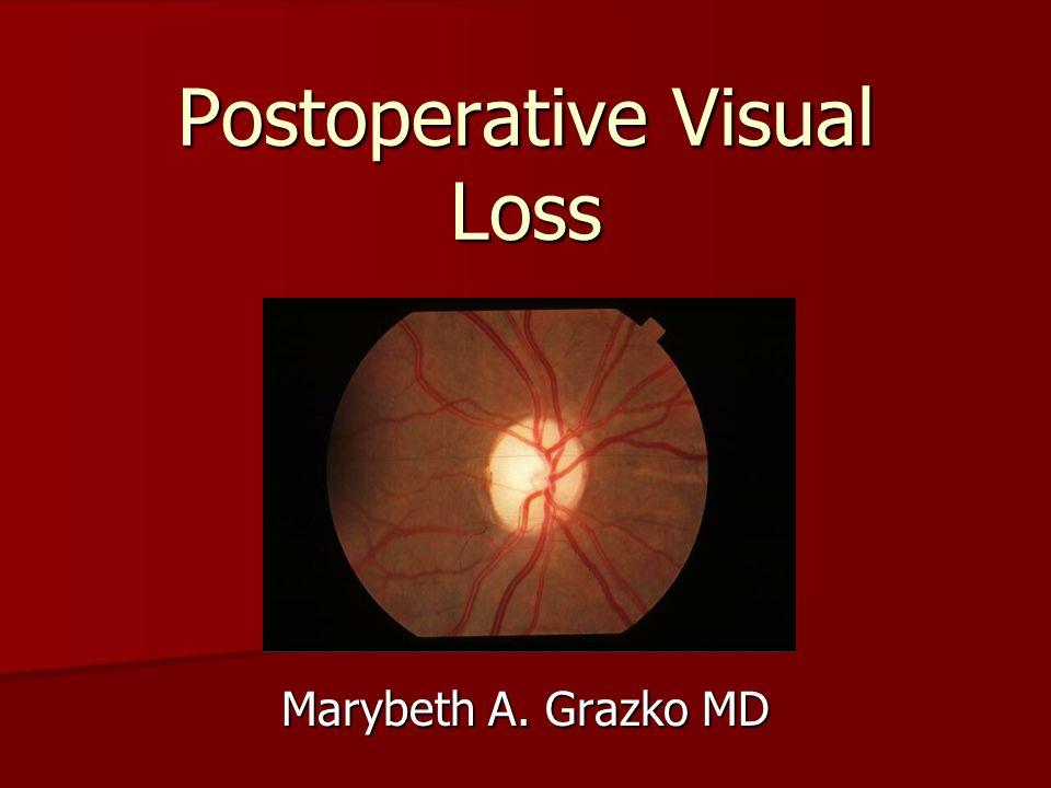 Postoperative Visual Loss Marybeth A. Grazko MD