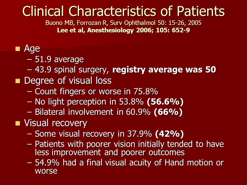 Clinical Characteristics of Patients Buono MB, Forrozan R, Surv Ophthalmol 50: 15-26, 2005 Lee et al, Anesthesiology 2006; 105: 652-9 Age Age –51.9 av