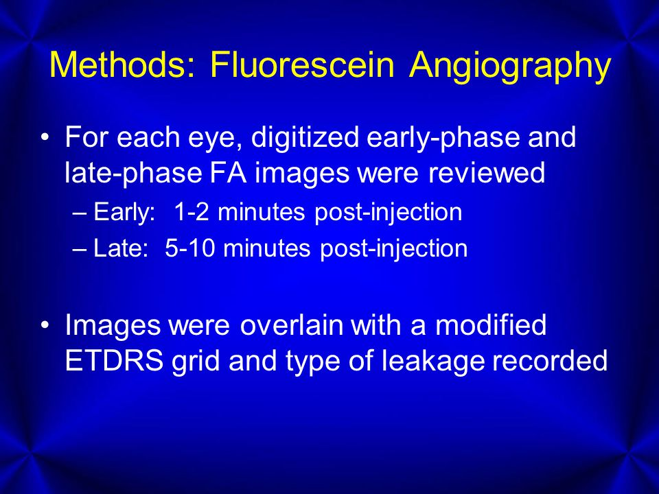 Methods: Fluorescein Angiography For each eye, digitized early-phase and late-phase FA images were reviewed –Early: 1-2 minutes post-injection –Late: 5-10 minutes post-injection Images were overlain with a modified ETDRS grid and type of leakage recorded